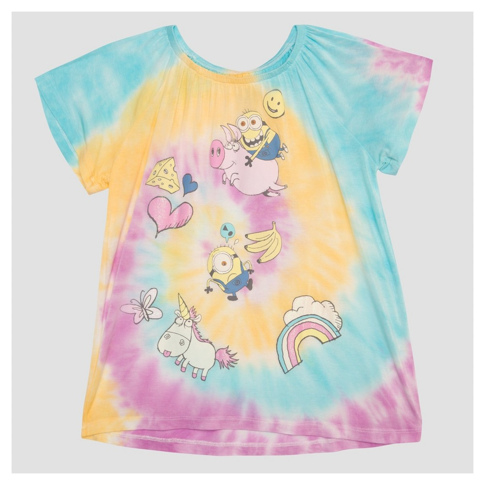 Girls Despicable Me 3 Tie Dye T-Shirt S (6-6X), Multicolored