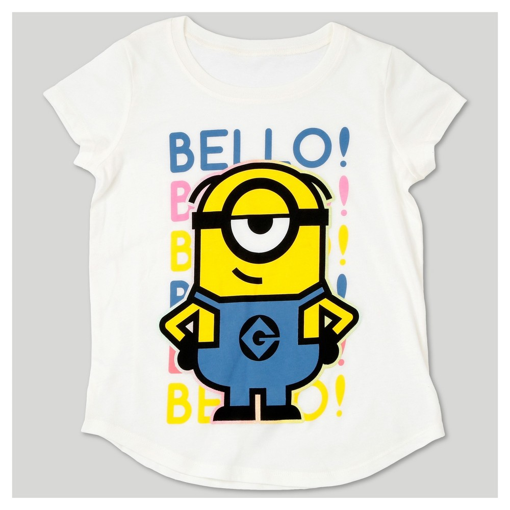 Girls Despicable Me 3 Bello Cap Sleeve T-Shirt - White S, Size: XS