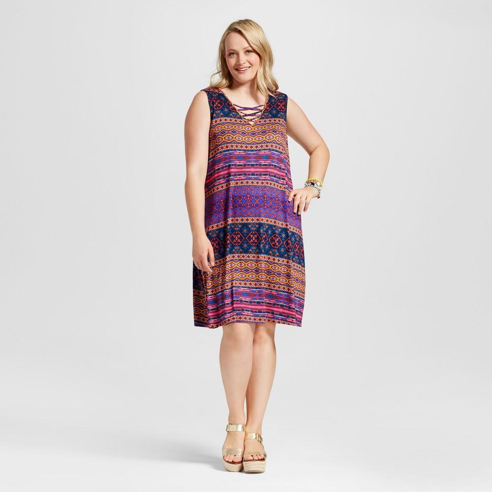 Womens Plus Size Lace Front Dress Purple 3X - Spenser Jeremy
