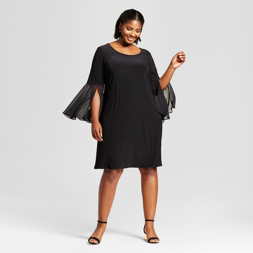 Womens Plus Size Bell-Sleeve Dress - Chiasso Black 1X