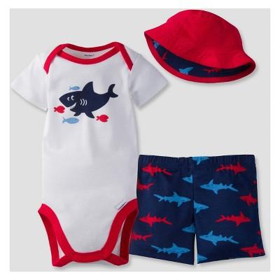 Gerber® Baby Boys' 3-Piece Short Sleeve Onesies® Bodysuit, Pants & Hat - Shark 0-3M