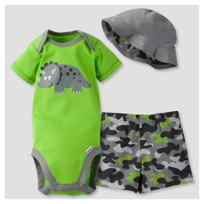 Gerber® Baby Boys' 3-Piece Short Sleeve Onesies® Bodysuit, Pants & Hat - Dinosaur 6-9M