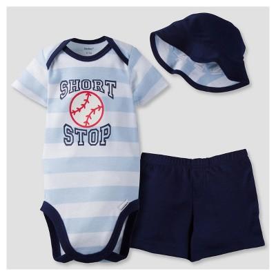 Gerber® Baby Boys' 3-Piece Short Sleeve Onesies® Bodysuit, Pants & Hat - Baseball 0-3M