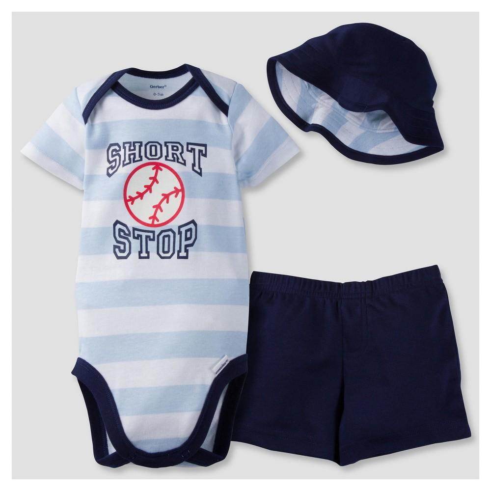 Gerber Baby Boys' 3-Piece Short Sleeve Onesies BodysuitPants & Hat - Baseball 6-9M, Size: 6-9 M, Blue