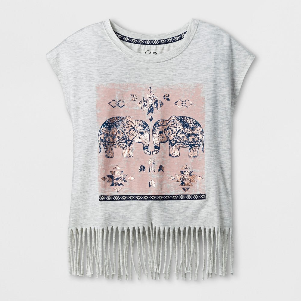 Girls Fringe T-Shirt - Art Class Heather Gray S