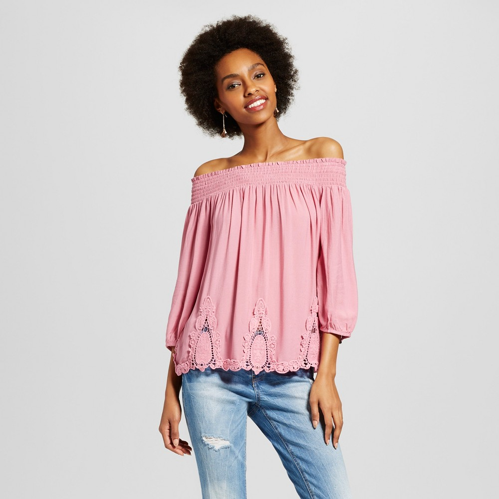 Womens Battenburg Lace Off the Shoulder Top - Xhilaration (Juniors) Mauve (Pink) S