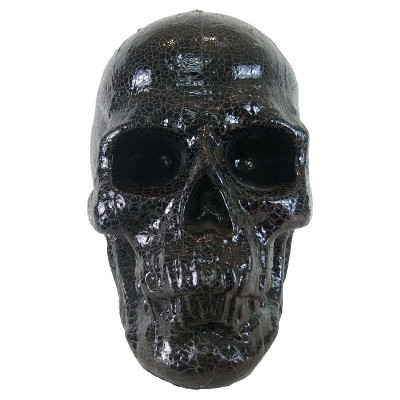Halloween 14  Crackle Glitter Skull Large Black - Hyde and Eek! Boutique™