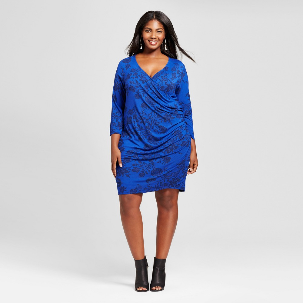 Womens Plus Size Knit Wrap Dress - Ava & Viv Blue 2X