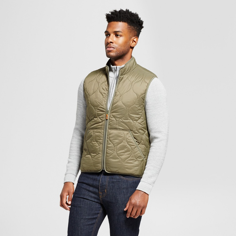 Mens Standard Fit Quilted Vest - Goodfellow & Co Green S