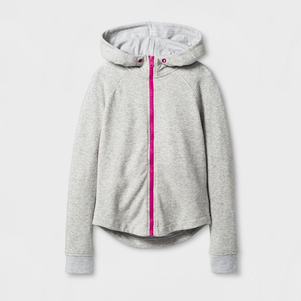Girls Long Sleeve Zip Up Hoodie Sweatshirt - Cat & Jack Pink/Gray M