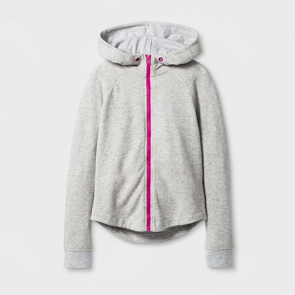Girls Long Sleeve Zip Up Hoodie Sweatshirt - Cat & Jack Pink/Gray XL