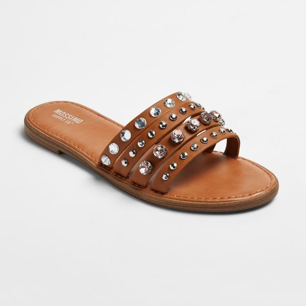 Womens Liv Multiple Band Rhinestone Slide Sandals - Mossimo Supply Co. Tan 6, Beige
