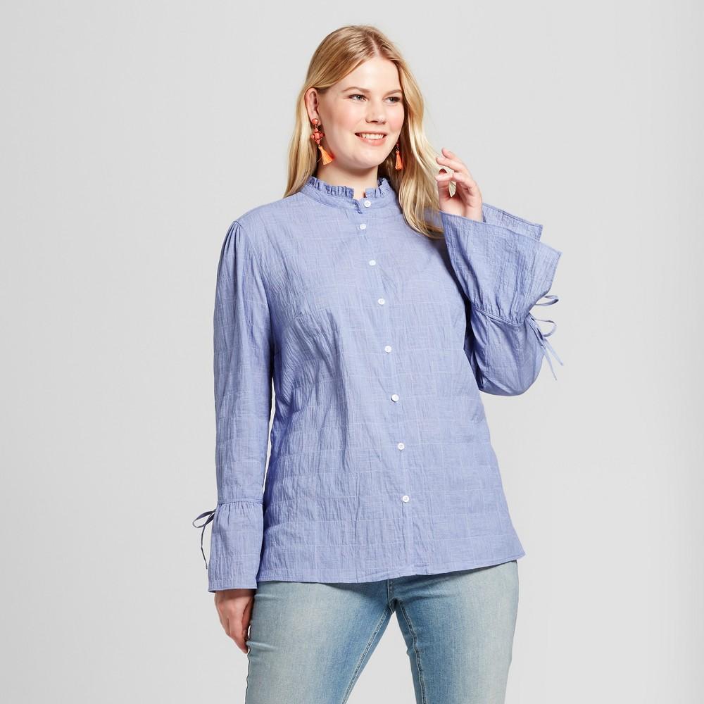 Womens Plus Size Chambray Check Button Down - Ava & Viv Blue X