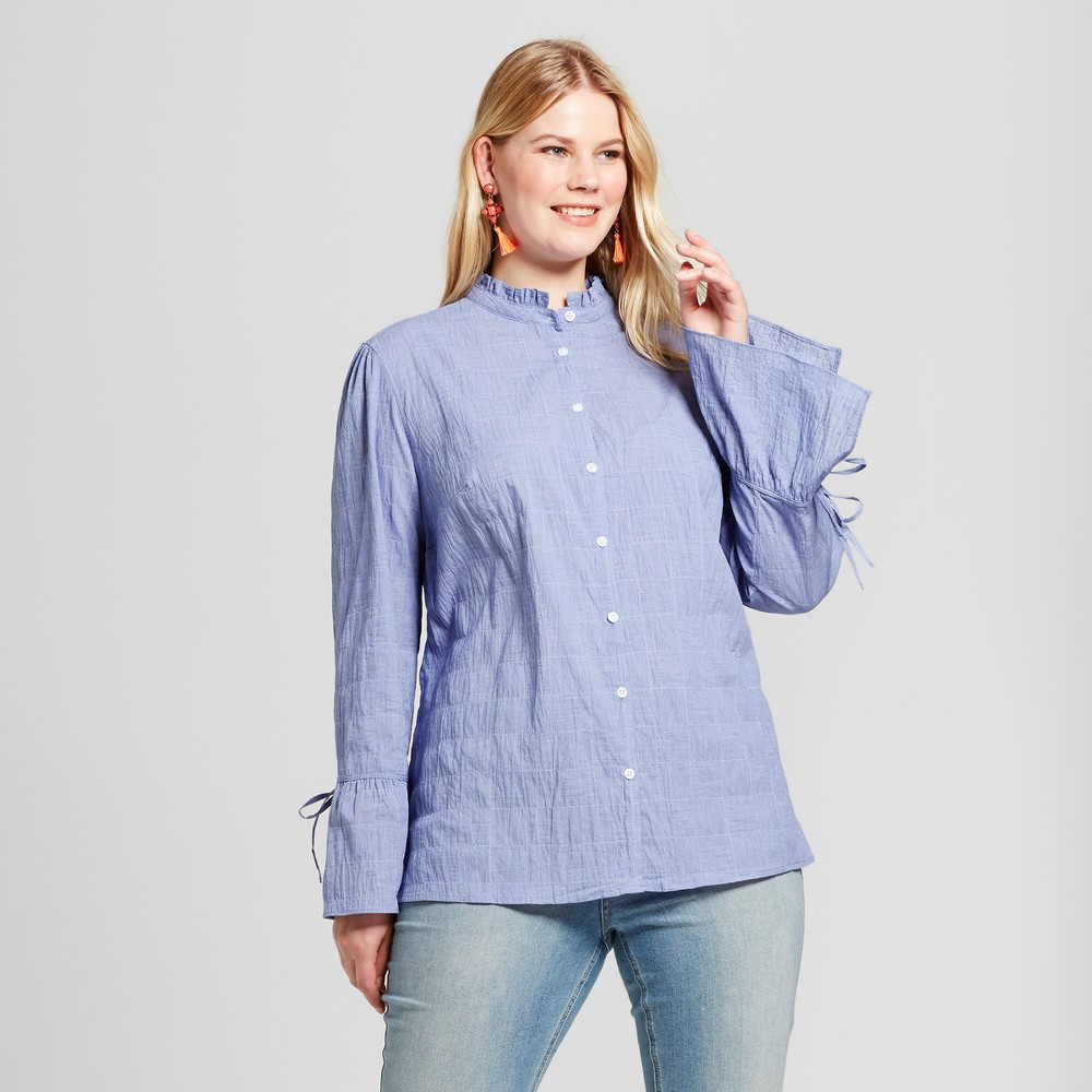 Womens Plus Size Chambray Check Button Down - Ava & Viv Blue 2X