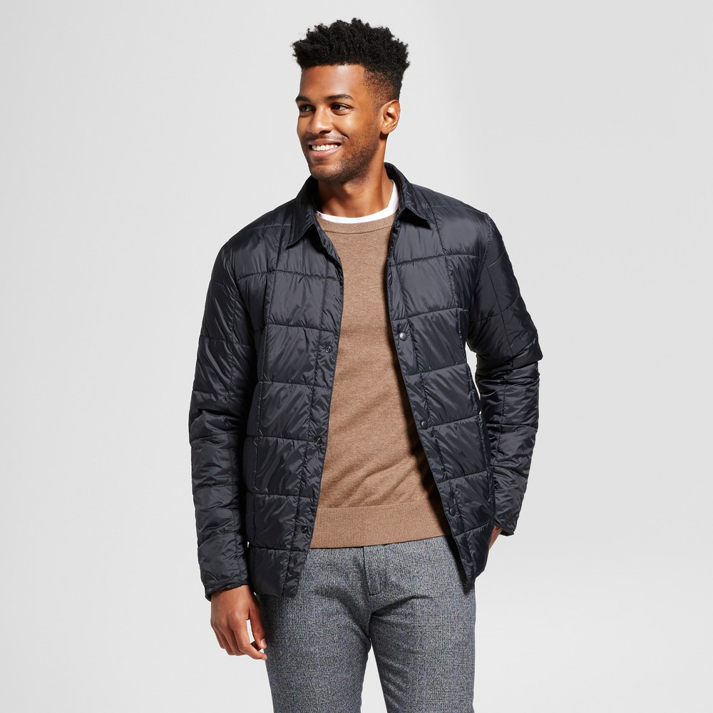 Mens Standard Fit Quilted Packable Shirt Jacket - Goodfellow & Co Black L