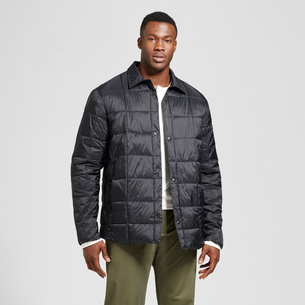 Mens Big & Tall Standard Fit Quilted Packable Shirt Jacket - Goodfellow & Co Black 4XB