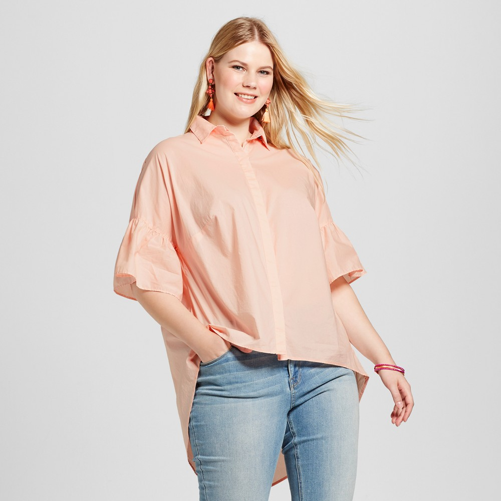 Womens Plus Size Ruffle Button Down - Ava & Viv Just Peachy X