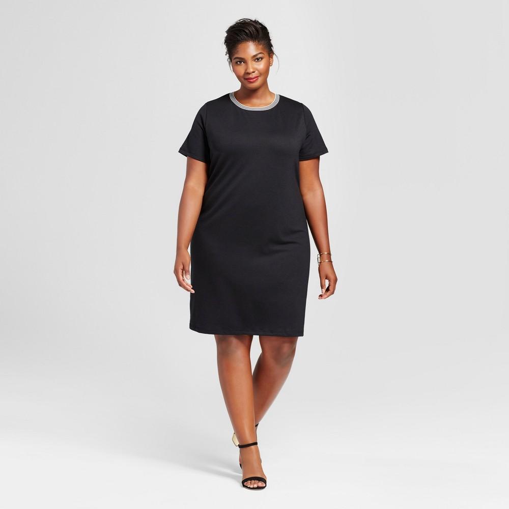 Womens Plus Size T-Shirt Dress with Sport Trim - Ava & Viv Black 1X