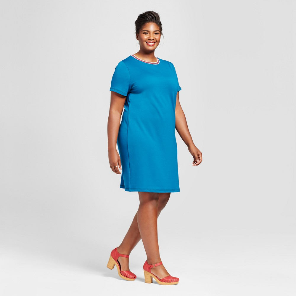 Womens Plus Size T-Shirt Dress with Sport Trim - Ava & Viv Deep Teal X