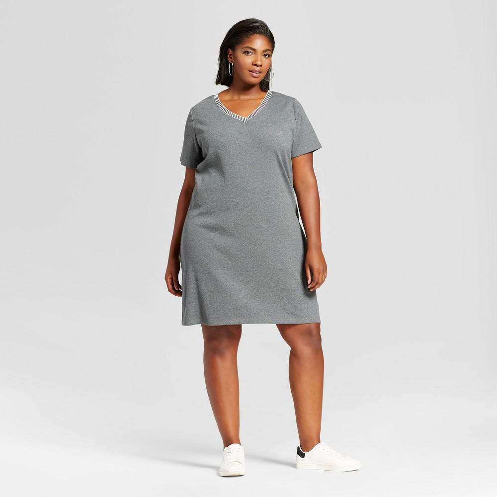 Womens Plus Size T-Shirt Dress with Sport Trim - Ava & Viv Gray X