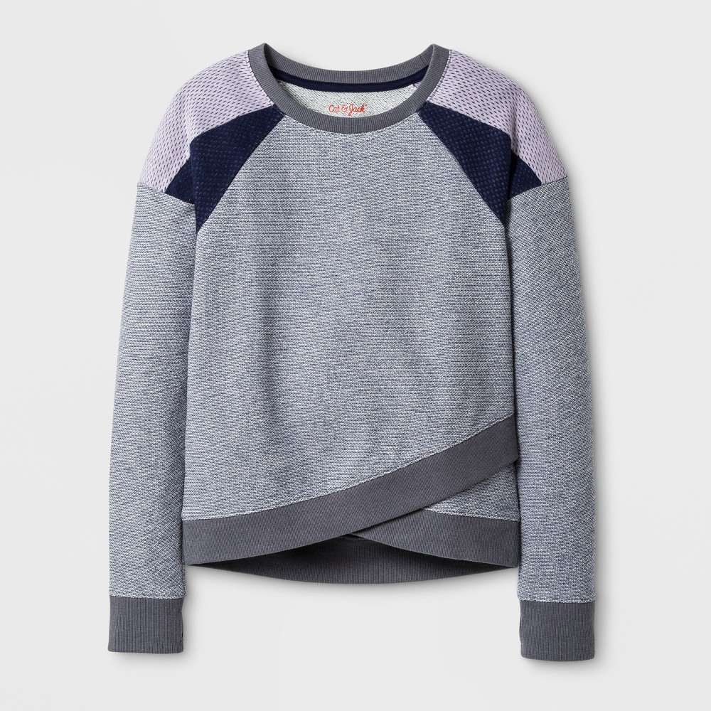 Girls Long Sleeve Pullover Sweatshirt with Mesh - Cat & Jack Gray XL