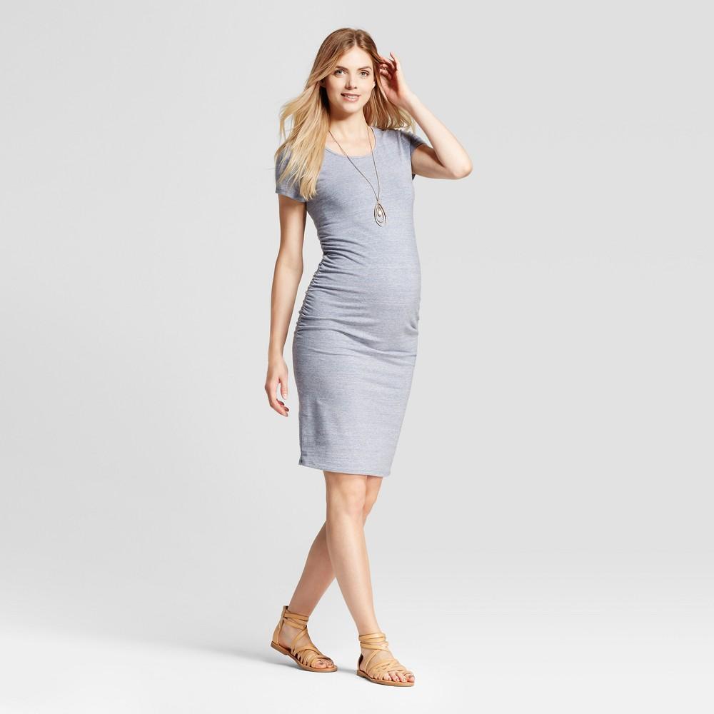 Maternity Short Sleeve Shirred T-Shirt Dress - Isabel Maternity by Ingrid & Isabel Blue Marble Heather M, Womens