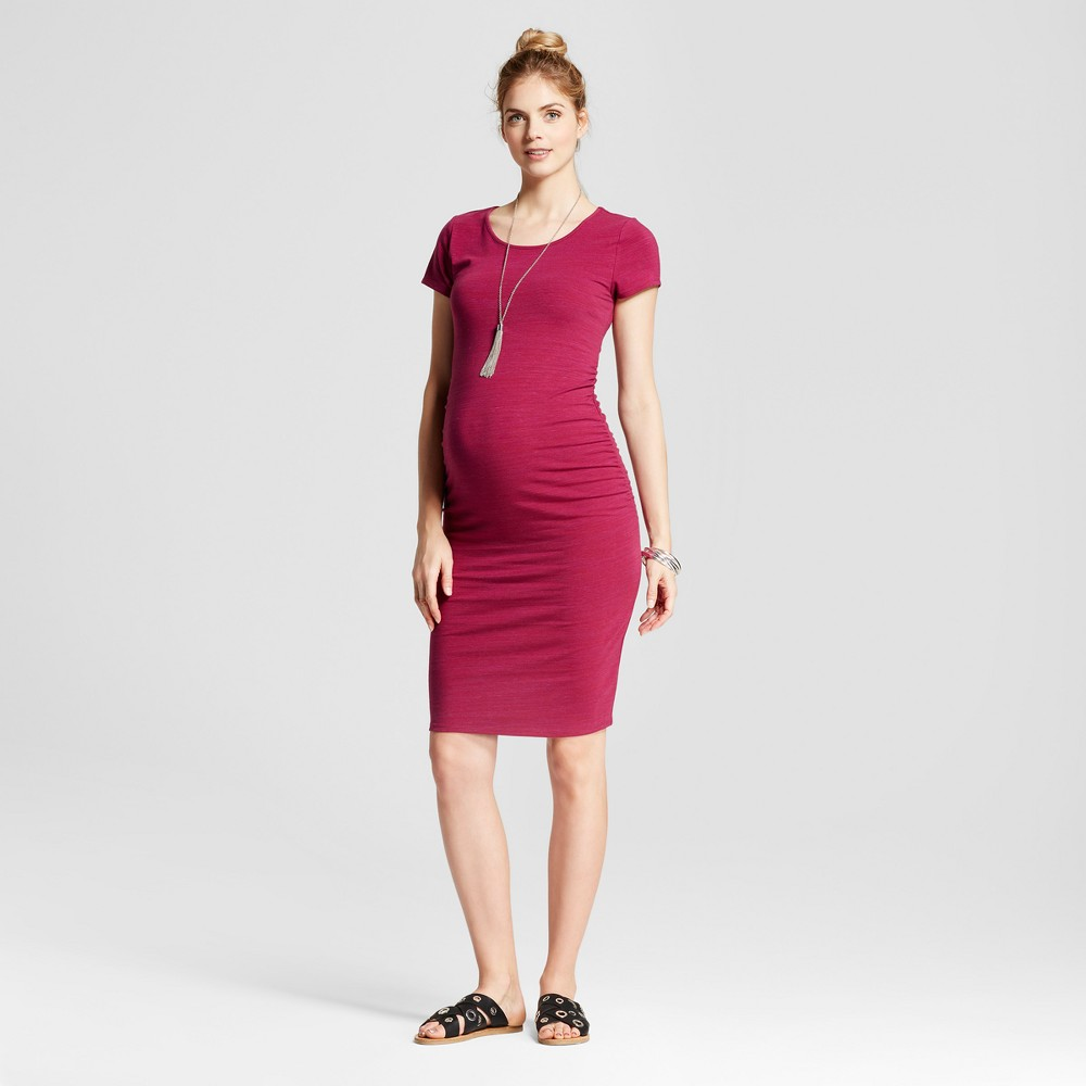 Maternity Short Sleeve Shirred T-Shirt Dress - Isabel Maternity by Ingrid & Isabel Red Berry Marble Heather XS, Womens