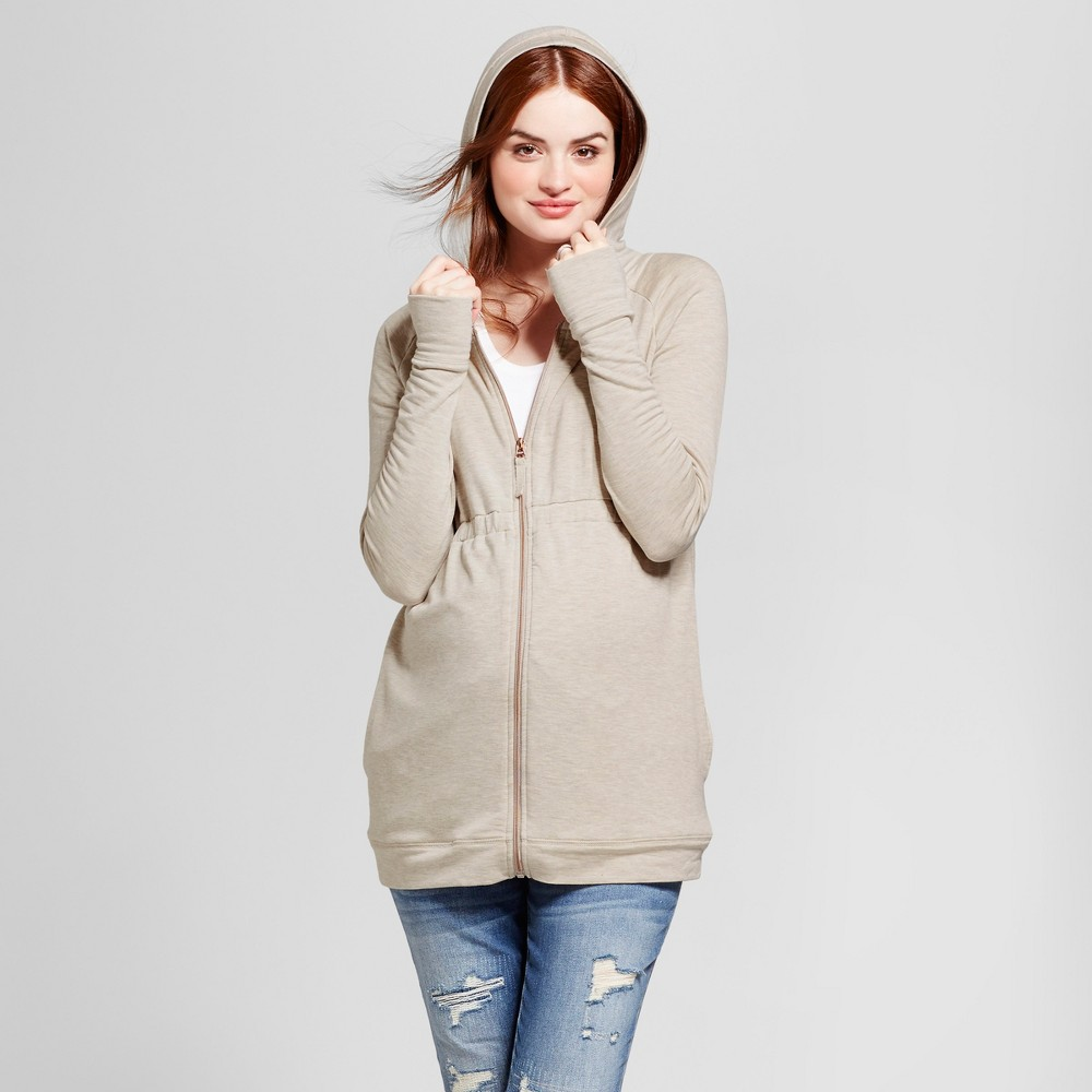Maternity Zip Hoodie - Isabel Maternity by Ingrid & Isabel Oatmeal Heather S, Womens