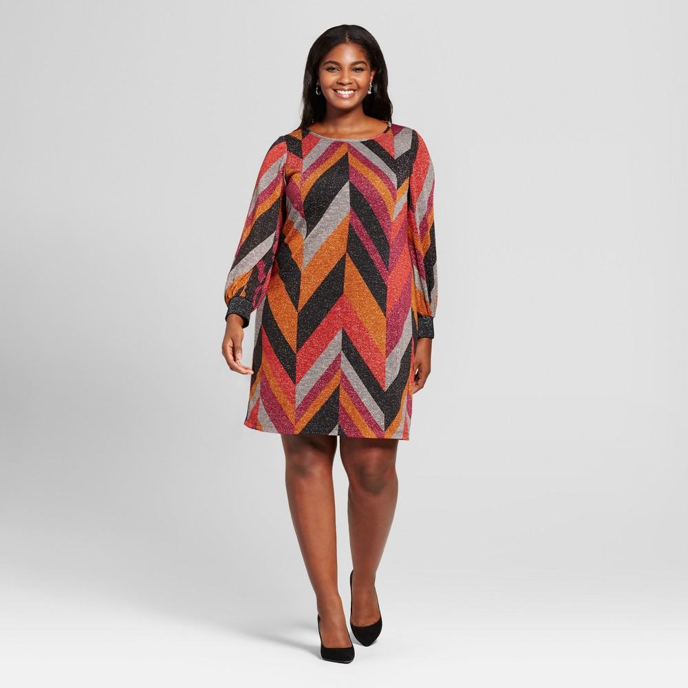 Womens Plus Size Chevron Print Dress - Chiasso - Brown 3X, Orange