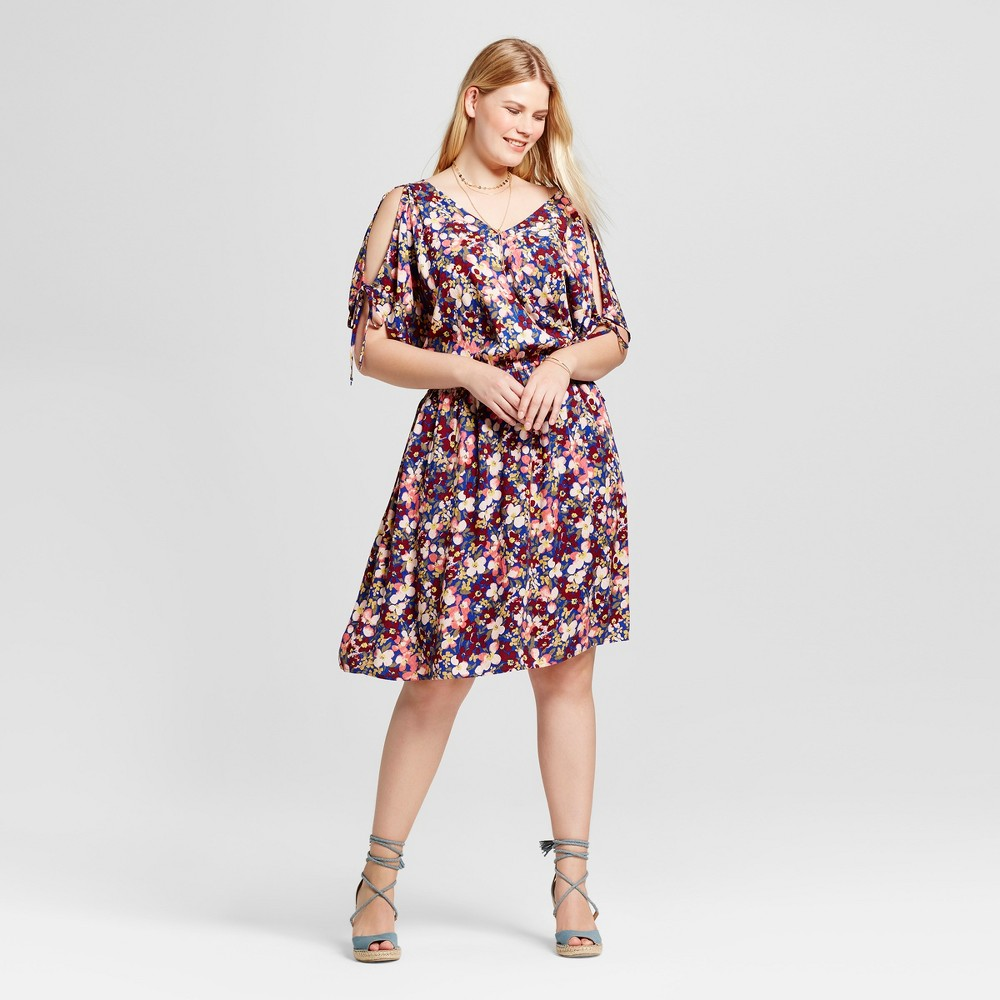 Womens Plus Size Cold Shoulder Floral Dress - Ava & Viv 1X, Multicolored