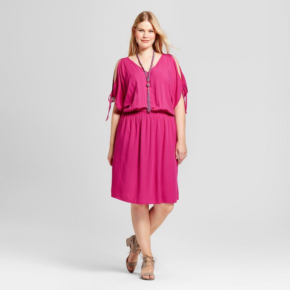 Womens Plus Size Cold Shoulder Dress - Ava & Viv Ruby Pink 3X