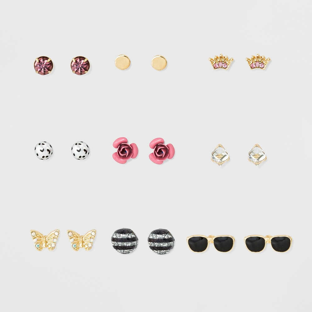 Womens Earring Nine Pack with Sunglasses, Butterfly and Crown Icons - Gold