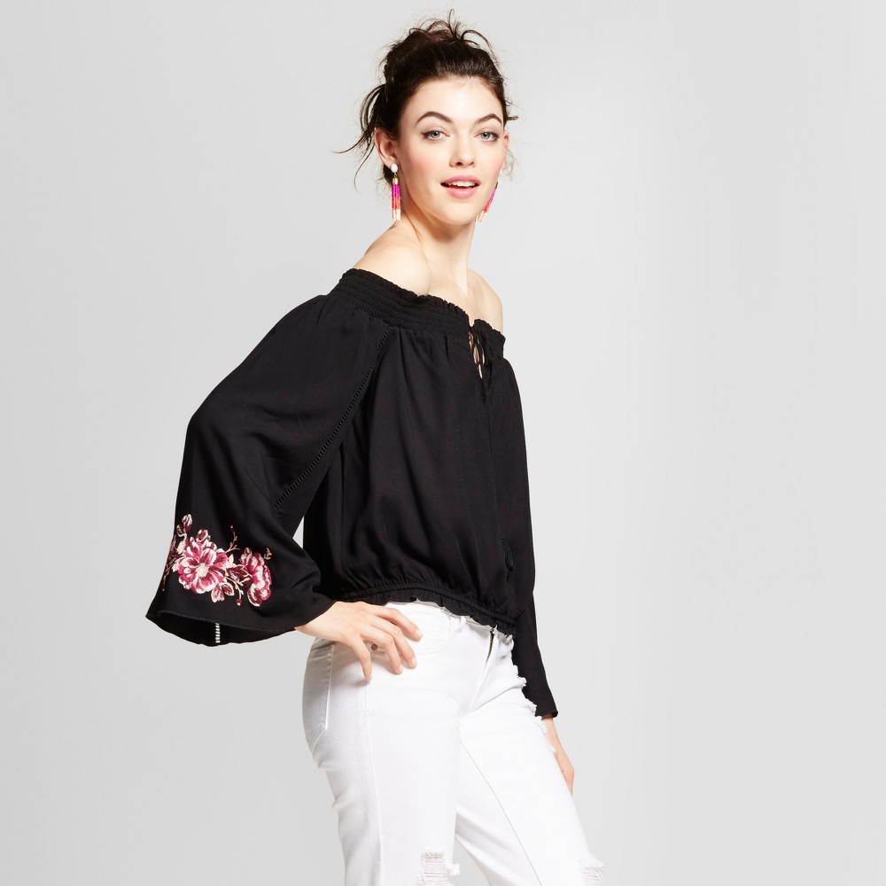 Womens Embroidered Sleeve Off the Shoulder Top - Xhilaration (Juniors) Black Xxl