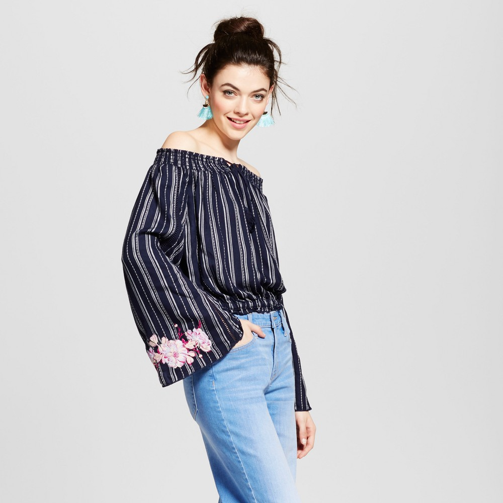 Womens Embroidered Sleeve Off the Shoulder Top - Xhilaration (Juniors) Navy (Blue) M