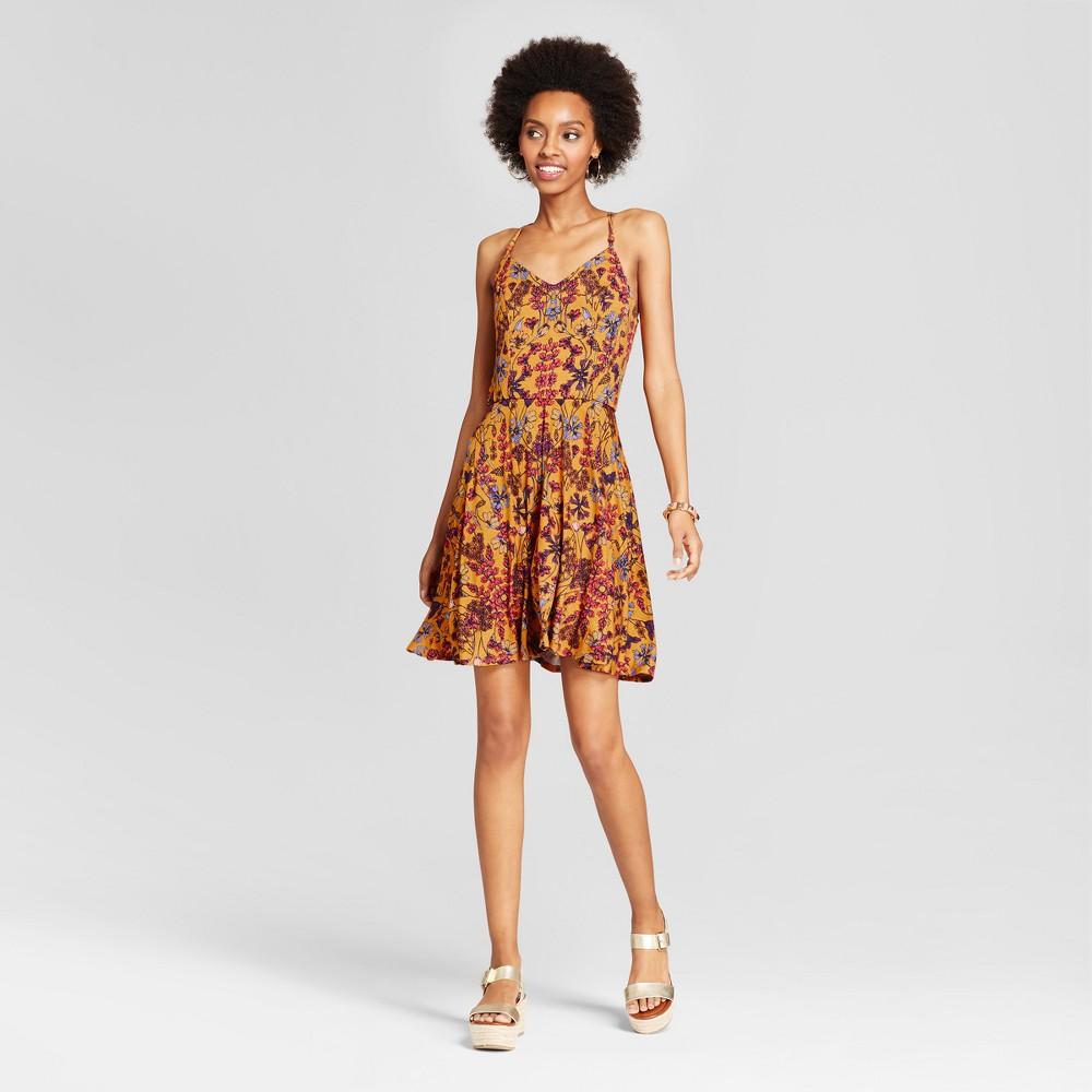 Womens Strappy Fit & Flare Dress - Xhilaration (Juniors) Gold L