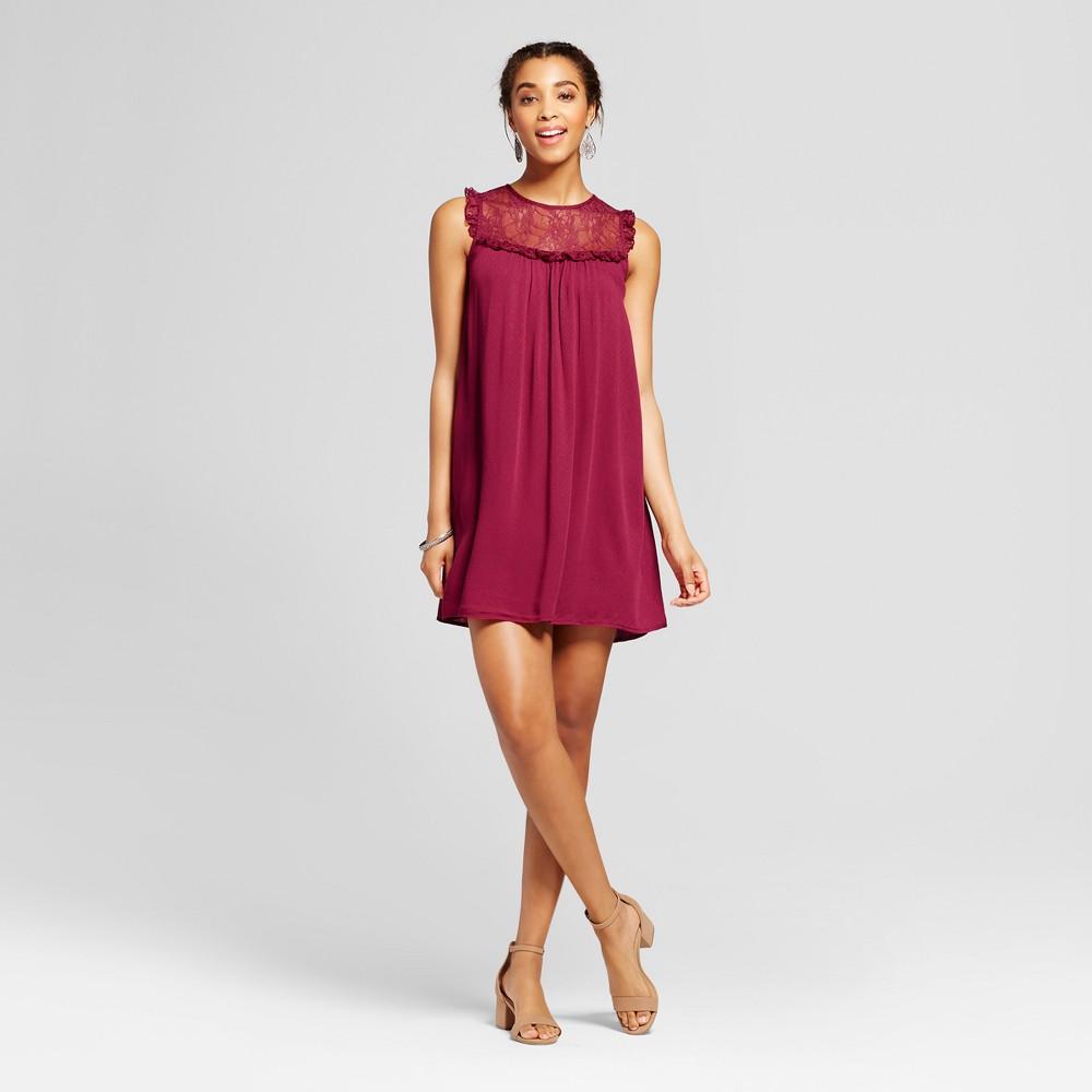 Womens Lace Bib Shift Dress - Xhilaration (Juniors) Old Wine XS