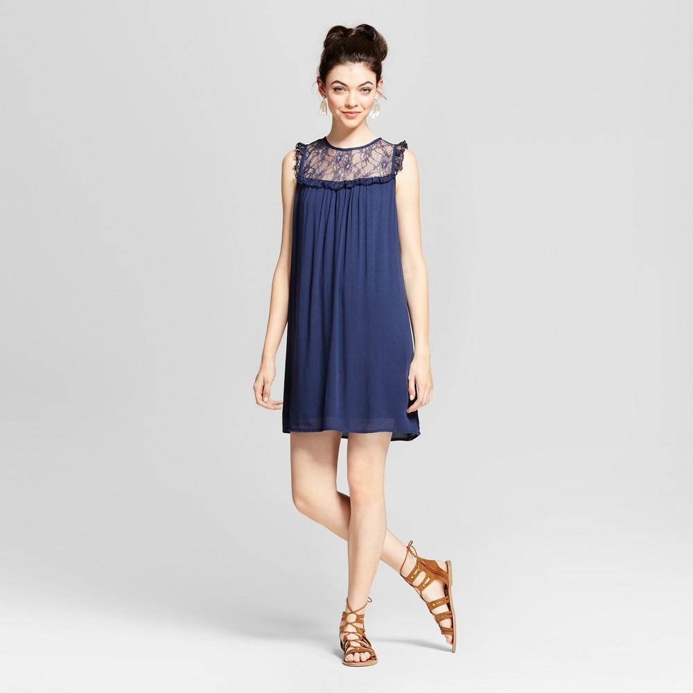 Womens Lace Bib Shift Dress - Xhilaration (Juniors) Navy (Blue) XS