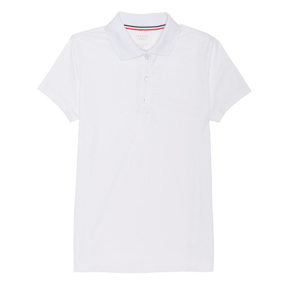 Girls French Toast Short Sleeve Knit Active Polo - White XL