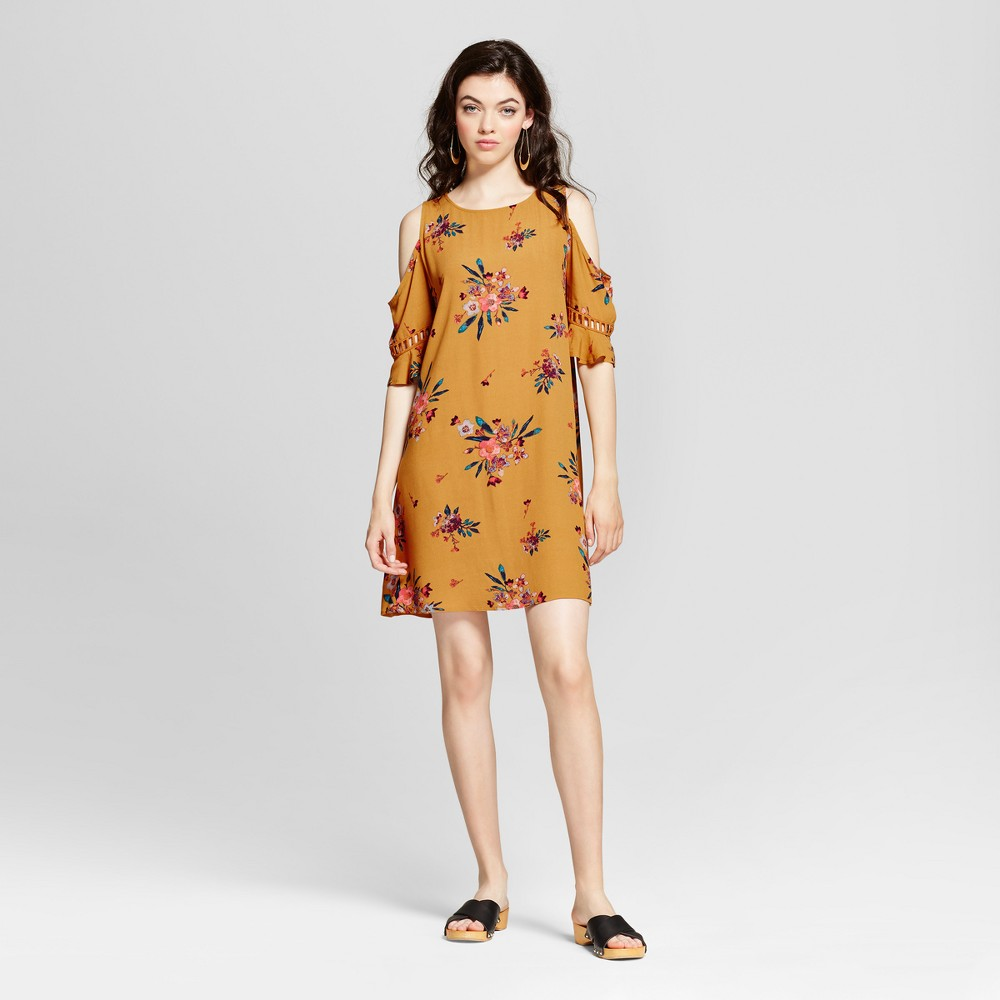 Womens Lattice-trim Cold Shoulder Dress - Xhilaration (Juniors) Gold XL