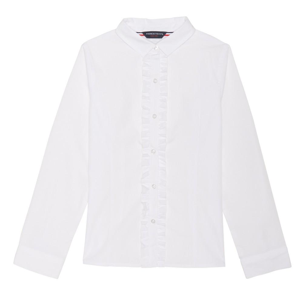 Girls French Toast Long Sleeve Ruffle Blouse - White 7