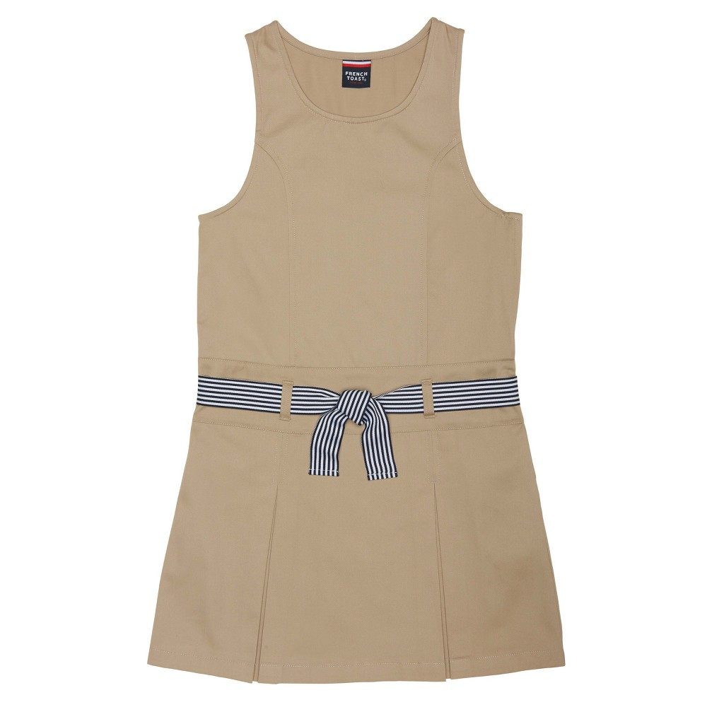 Girls French Toast Belted Pleat Jumper - Khaki (Green) 6