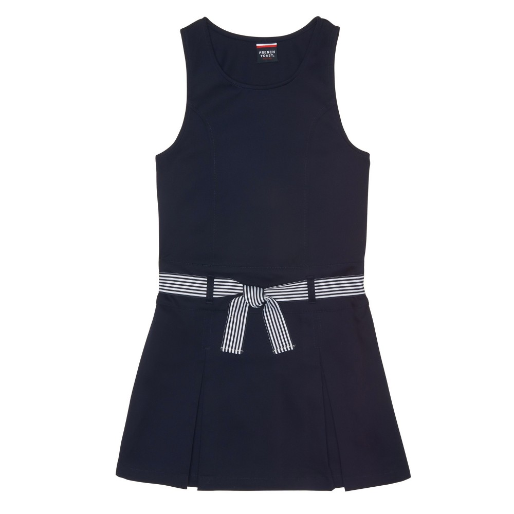 Girls' French Toast Belted Pleat Jumper - Navy (Blue) 6