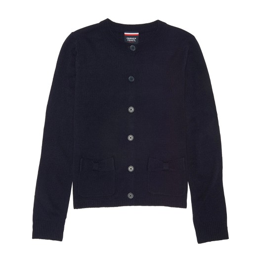 Girls' French Toast® Knit Long Sleeve Bow Cardigan - Navy : Target