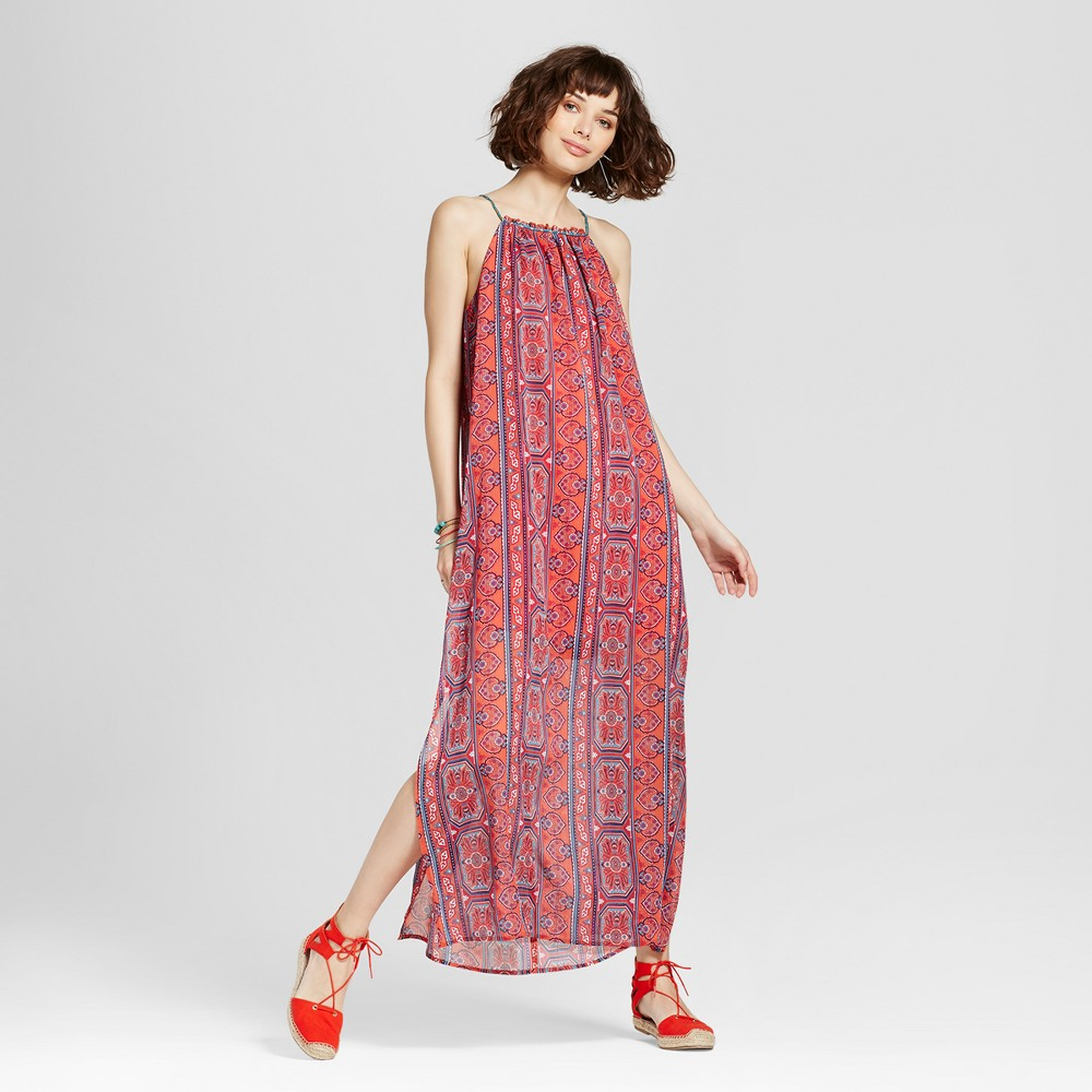 Womens High-neck Printed Maxi Dress - Xhilaration (Juniors) Pink Xxl