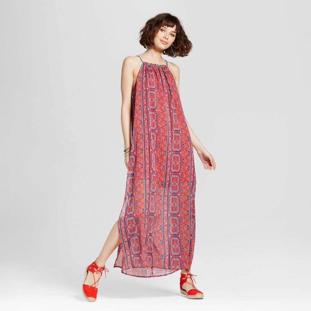Womens High-neck Printed Maxi Dress - Xhilaration (Juniors) Pink XL