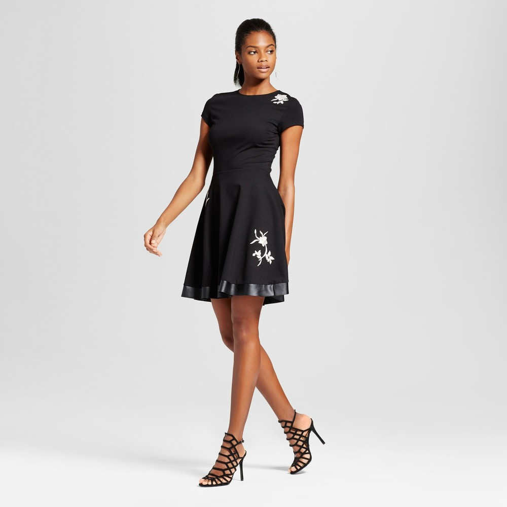 Womens Embroidery Patch Ponte Fit n Flare Dress - Necessary Objects Black S
