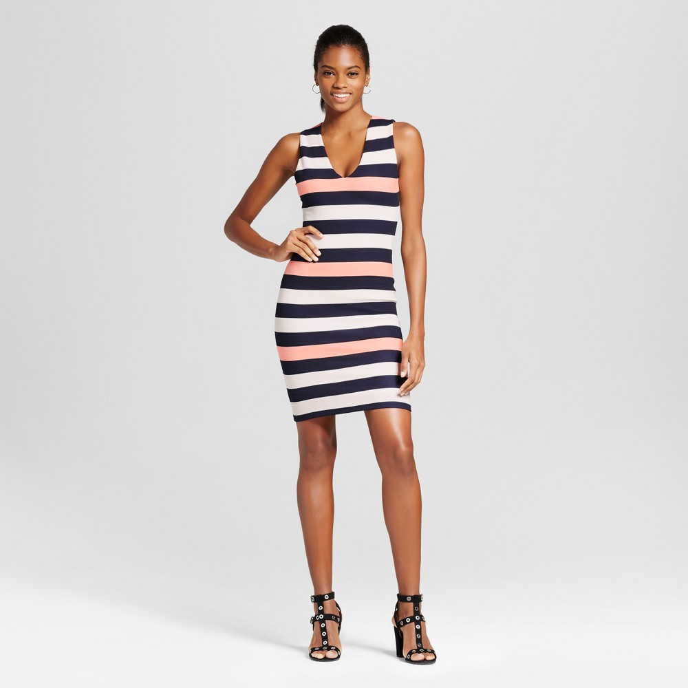 Womens V- Necessary Objects Neck Stripe Bodycon Dress - Necessary Objects XS, Multicolored