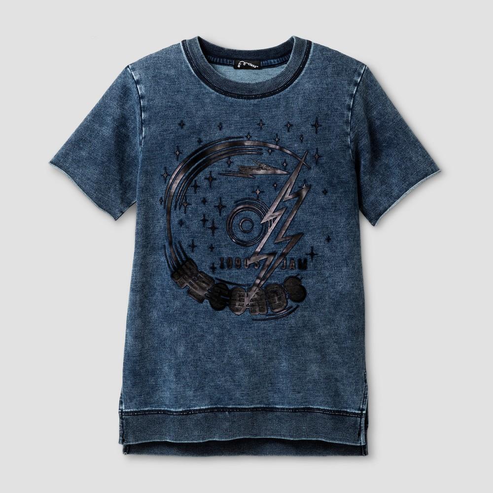 Boys Short Sleeve High Density Record Graphic T-Shirt - Art Class Black L, Blue