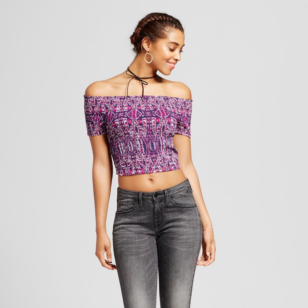 Womens Smocked Short Sleeve Top - Xhilaration (Juniors) Purple XL, Blue