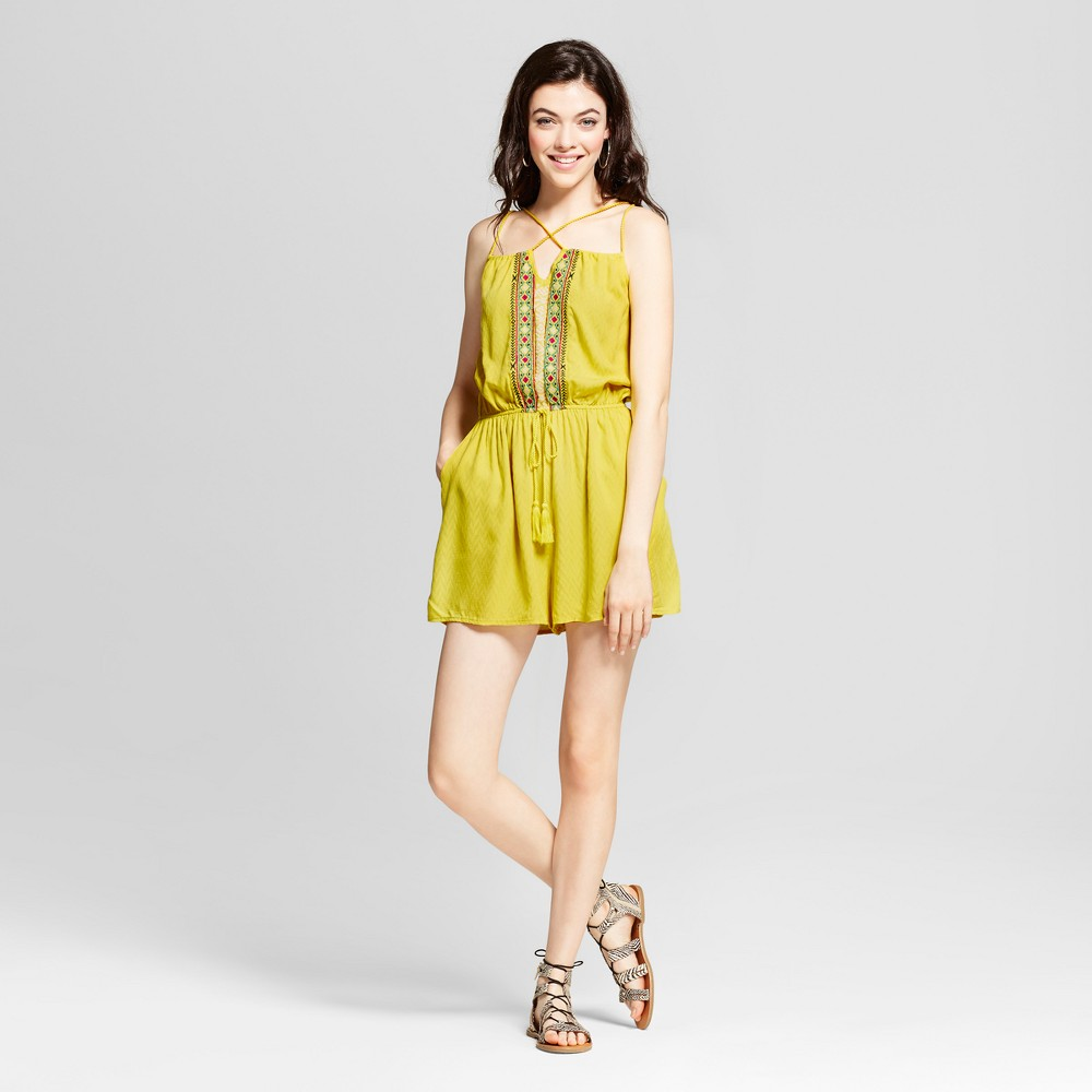 Womens Embroidered Y-Neck Romper - Xhilaration (Juniors) Yellow M